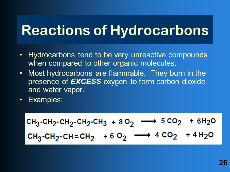 Reactions of Hydrocarbons Hydrocarbons tend to be very unreactive compounds when compared to other organic molecules.
