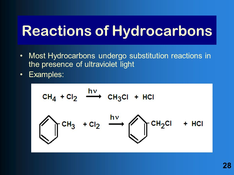 Reactions of Hydrocarbons Most Hydrocarbons undergo substitution reactions in the presence of ultraviolet light Examples: 28