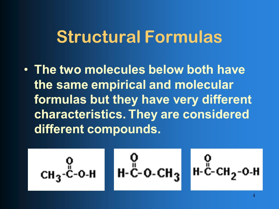 Structural Formulas The two molecules below both have the same empirical and molecular formulas but they have very different characteristics.