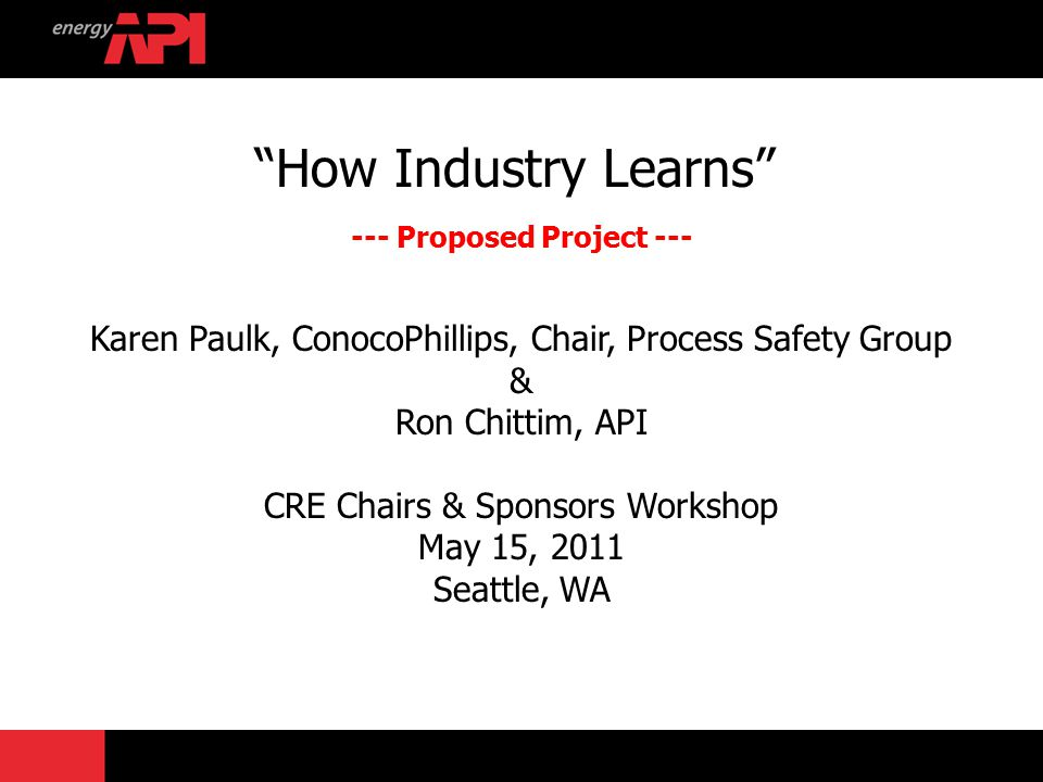 "How Industry Learns"" --- Proposed Project --- Karen Paulk"