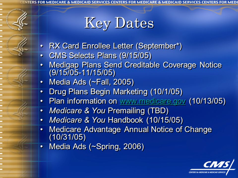 9 key dates rx card enrollee letter