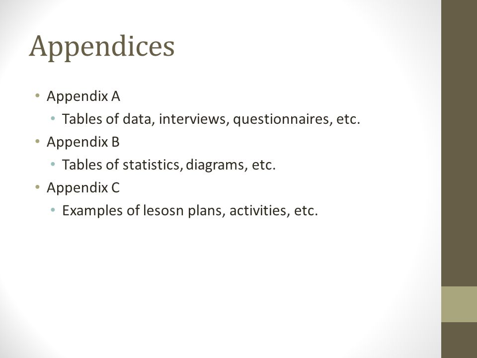 Appendices Appendix A Tables of data, interviews, questionnaires, etc.
