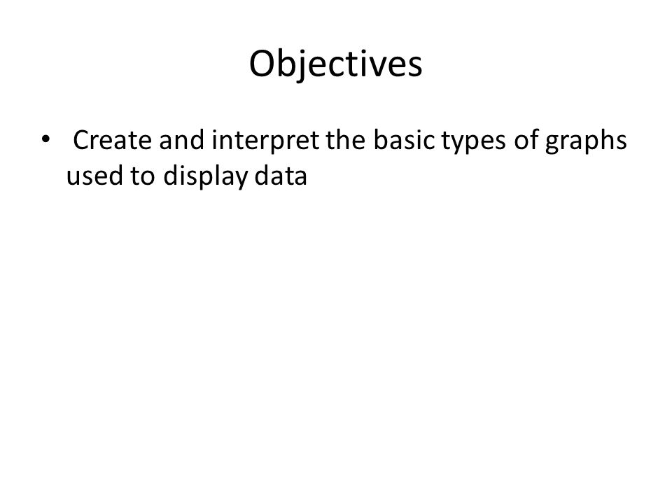 Objectives Create and interpret the basic types of graphs used to display data