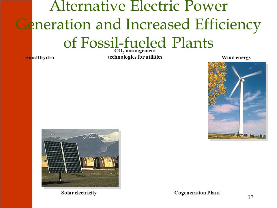 17 Solar electricity Small hydro CO 2 management technologies for utilities Wind energy Alternative Electric Power Generation and Increased Efficiency of Fossil-fueled Plants Cogeneration Plant