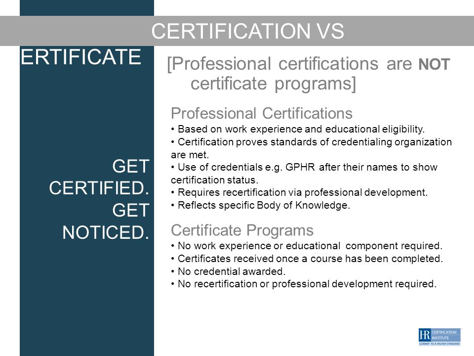 get certified. get noticed hr certification exams overview name of ...