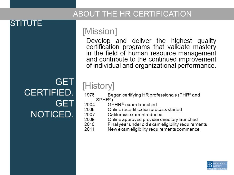 Get Certified Get Noticed Hr Certification Exams Overview Name Of