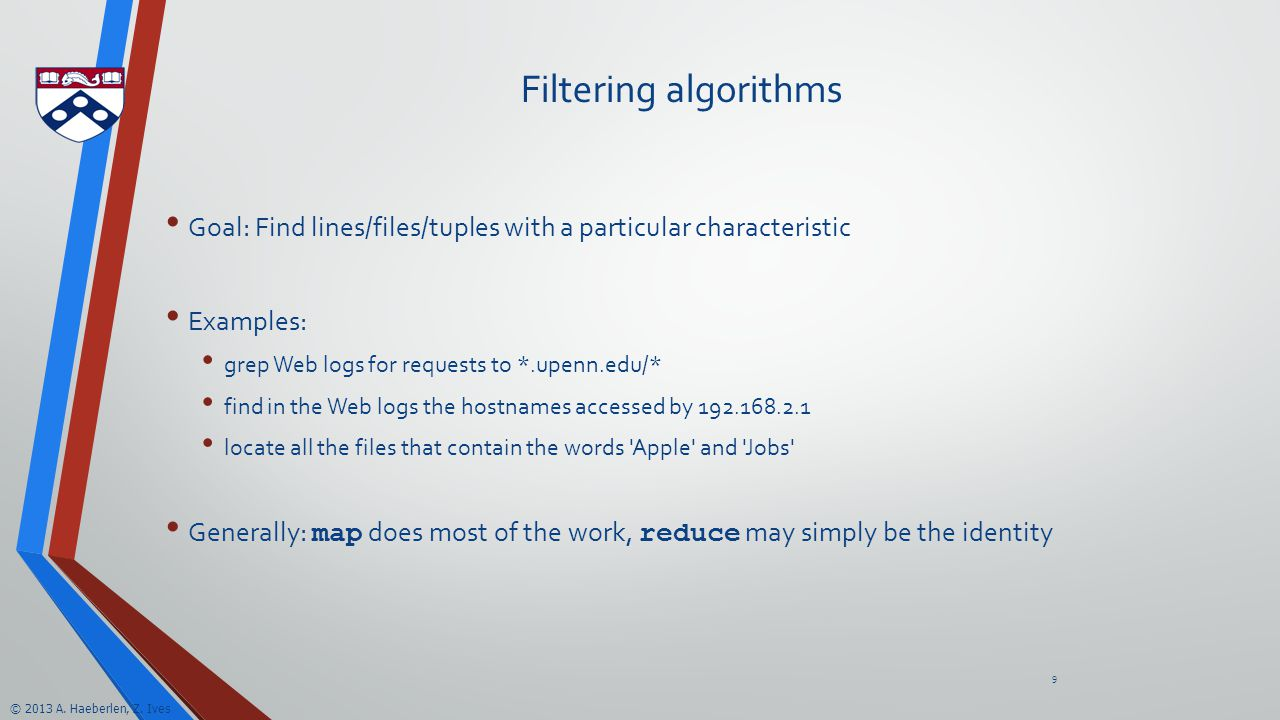 2013 A  Haeberlen, Z  Ives MapReduce Algorithms & Hadoop