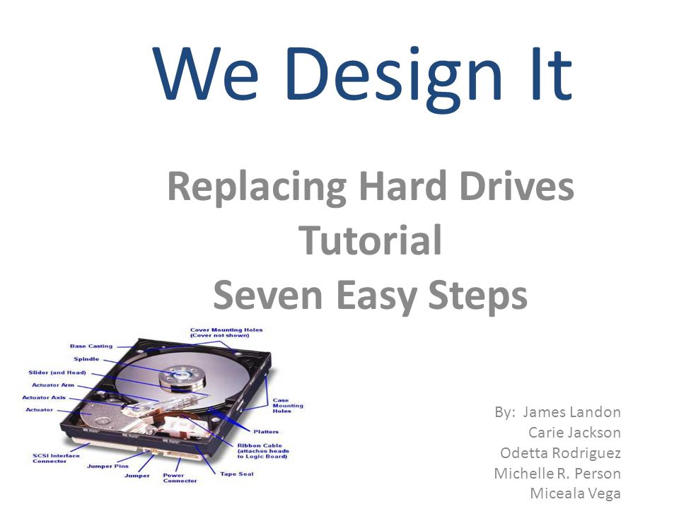 We Design It Replacing Hard Drives Tutorial Seven Easy Steps By: James Landon Carie Jackson Odetta Rodriguez Michelle R.