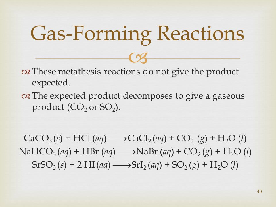  43 Gas-Forming Reactions  These metathesis reactions do not give the product expected.