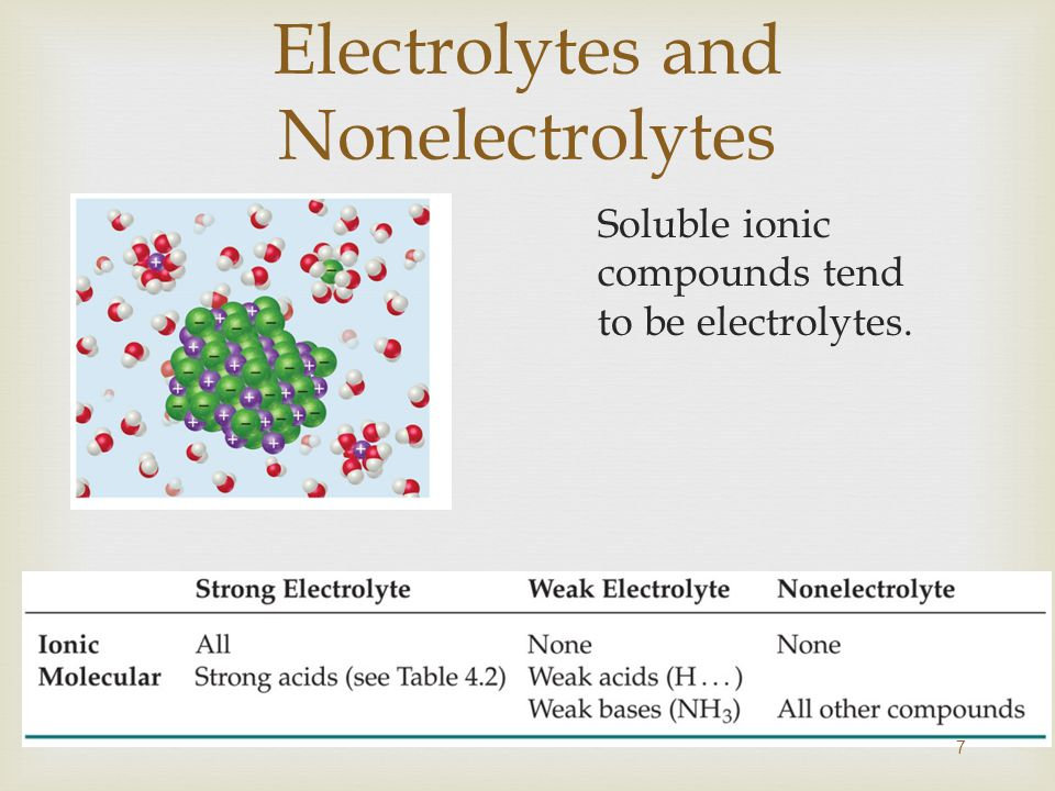 Electrolytes and Nonelectrolytes Soluble ionic compounds tend to be electrolytes. 7