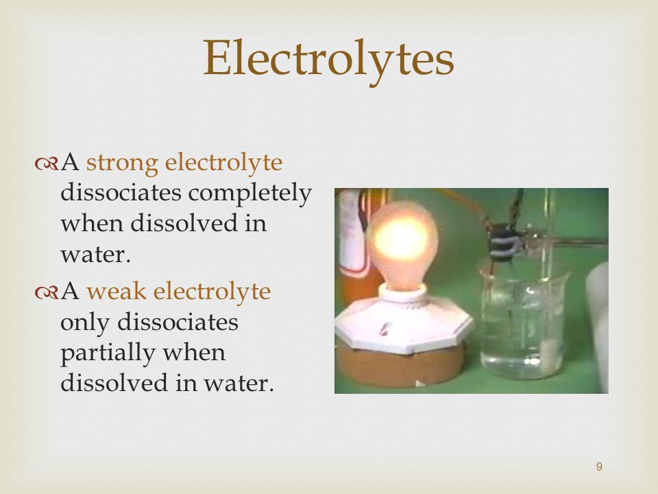 Electrolytes  A strong electrolyte dissociates completely when dissolved in water.