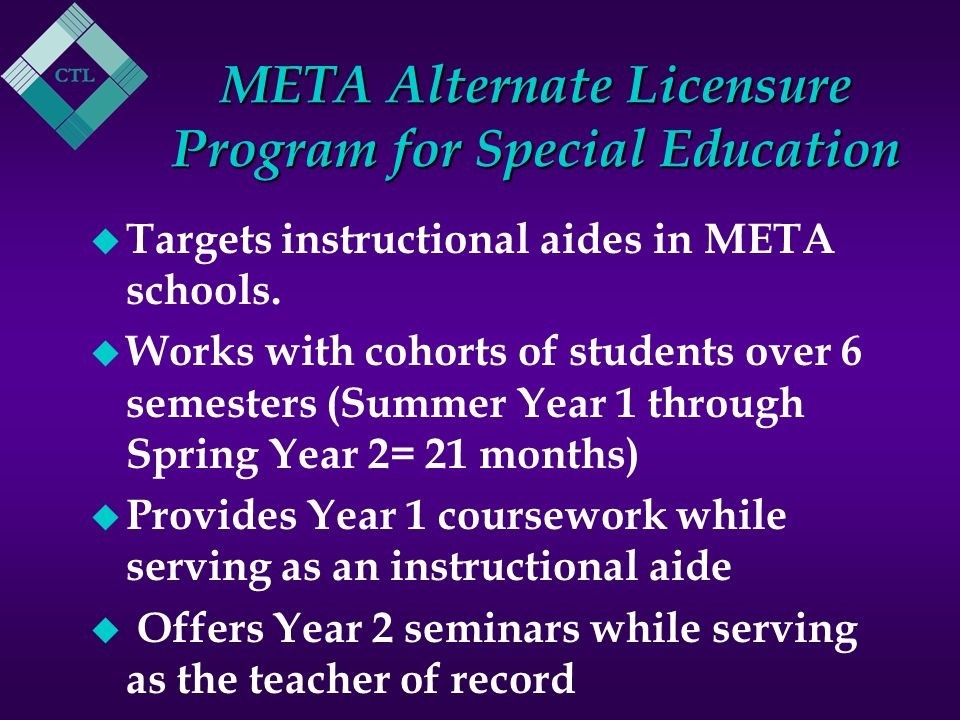 META Alternate Licensure Program for Special Education u Targets instructional aides in META schools.
