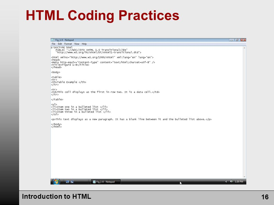Introduction to HTML 16 HTML Coding Practices