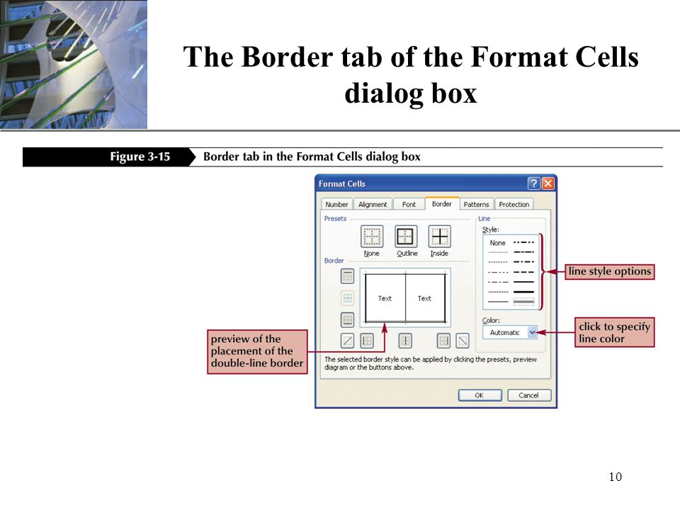 XP 10 The Border tab of the Format Cells dialog box