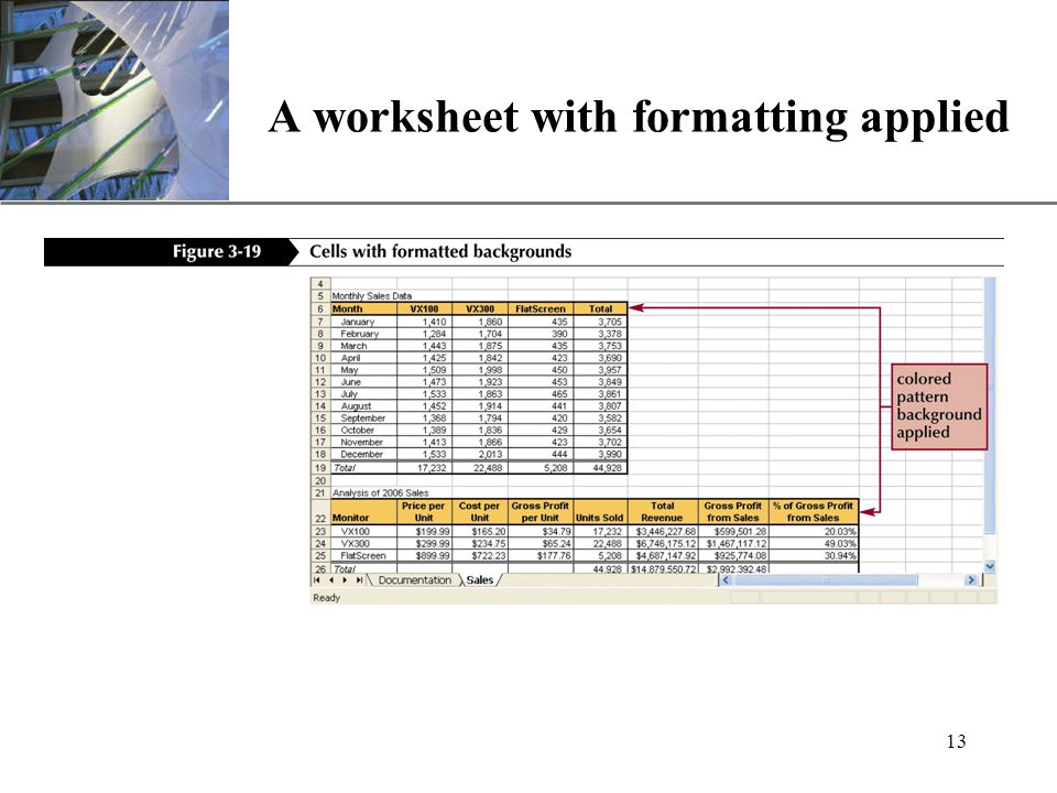 XP 13 A worksheet with formatting applied