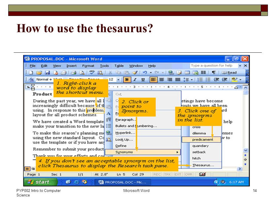 PYP002 Intro.to Computer Science Microsoft Word14 How to use the thesaurus