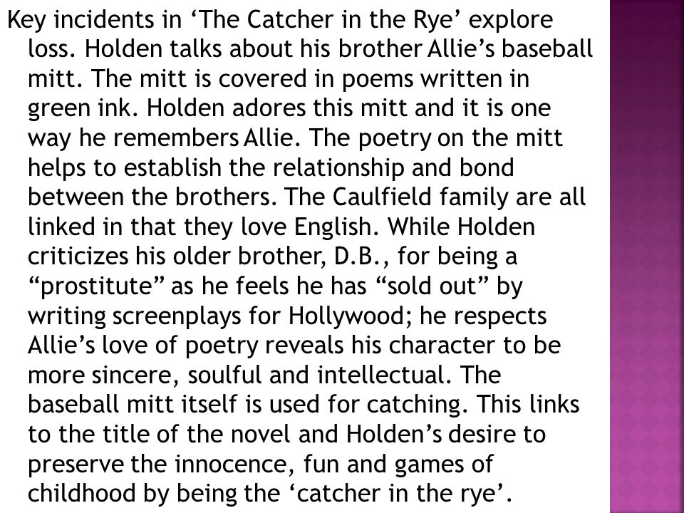 catcher in the rye essay the innocence Language in the catcher in the rye by jd salinger in six pages this paper discusses language as it depicts vulnerability and innocence in catcher in the rye by jd salinger six  innocence and holden caulfield in catcher in the rye antolini, a man who is not innocent.
