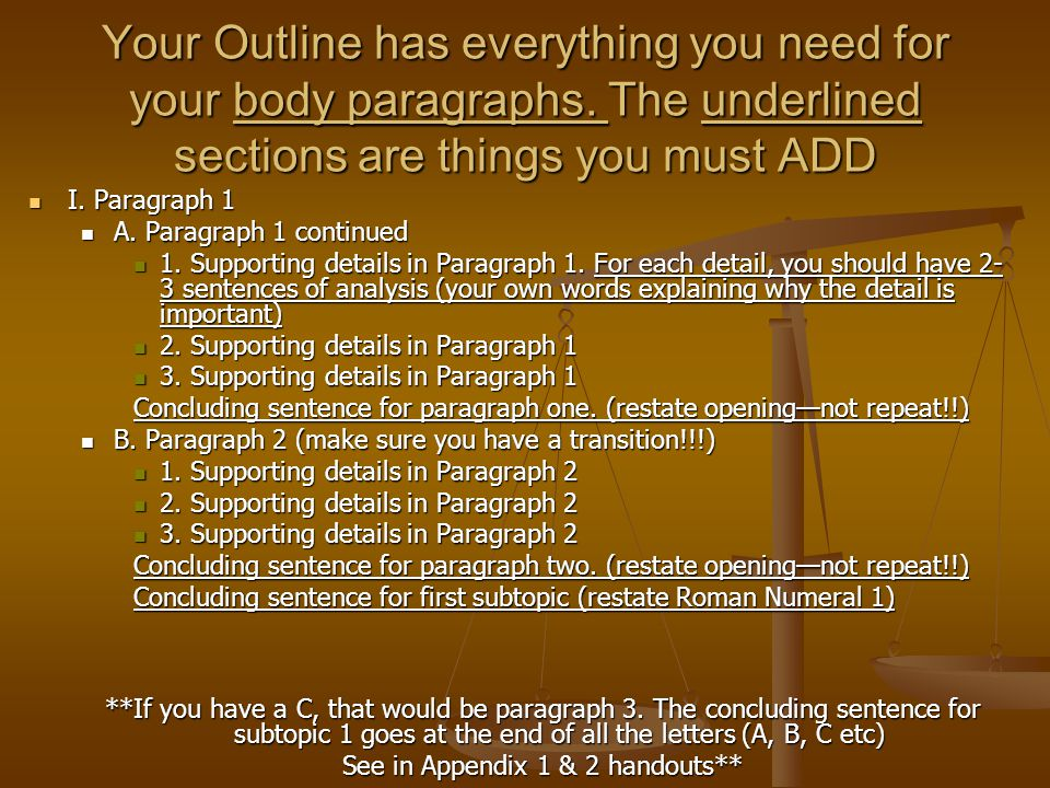 Your Outline has everything you need for your body paragraphs.