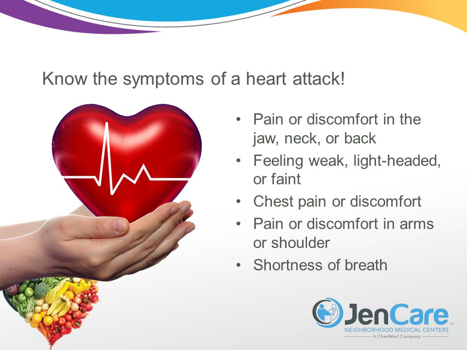 Know the symptoms of a heart attack.