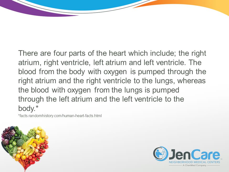 There are four parts of the heart which include; the right atrium, right ventricle, left atrium and left ventricle.