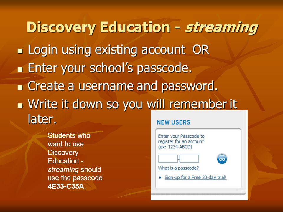 Login using existing account OR Login using existing account OR Enter your school's passcode.