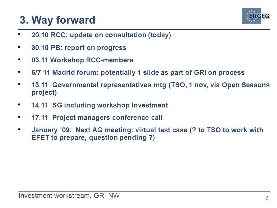 5 Investment workstream, GRI NW 3.