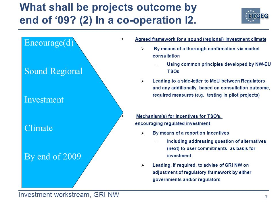 7 Investment workstream, GRI NW What shall be projects outcome by end of '09.