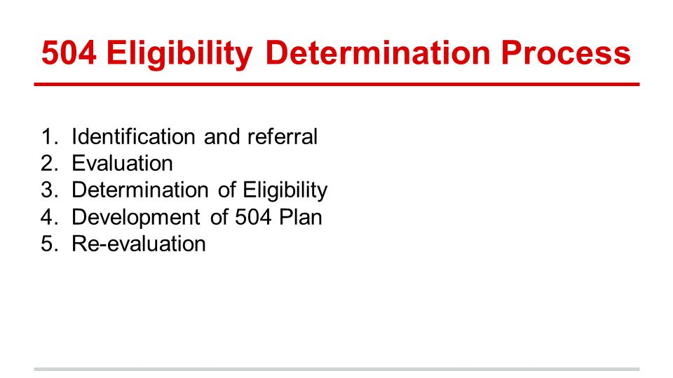 504 Eligibility Determination Process 1. Identification and referral 2.