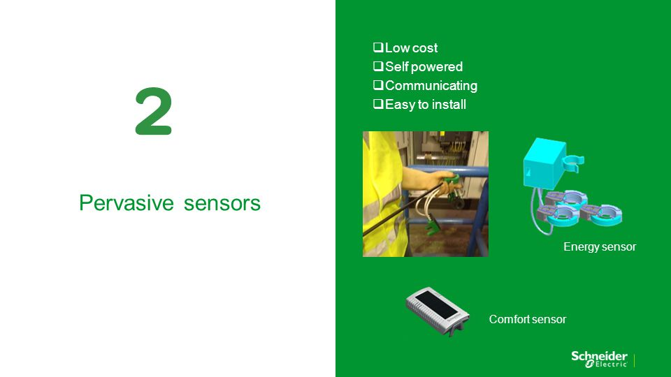  Low cost  Self powered  Communicating  Easy to install Pervasive sensors Energy sensor Comfort sensor