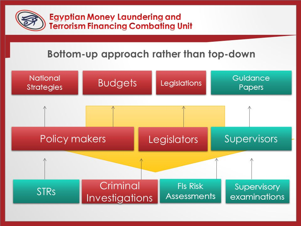 Bottom-up approach rather than top-down STRs Criminal Investigations Supervisory examinations Policy makers Legislators Supervisors National Strategies Budgets Guidance Papers Guidance Papers Legislations FIs Risk Assessments