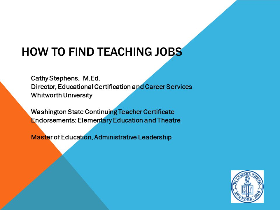 """Welcome to """"How to Find Teaching Jobs"""" Led by Cathy Stephens ..."""