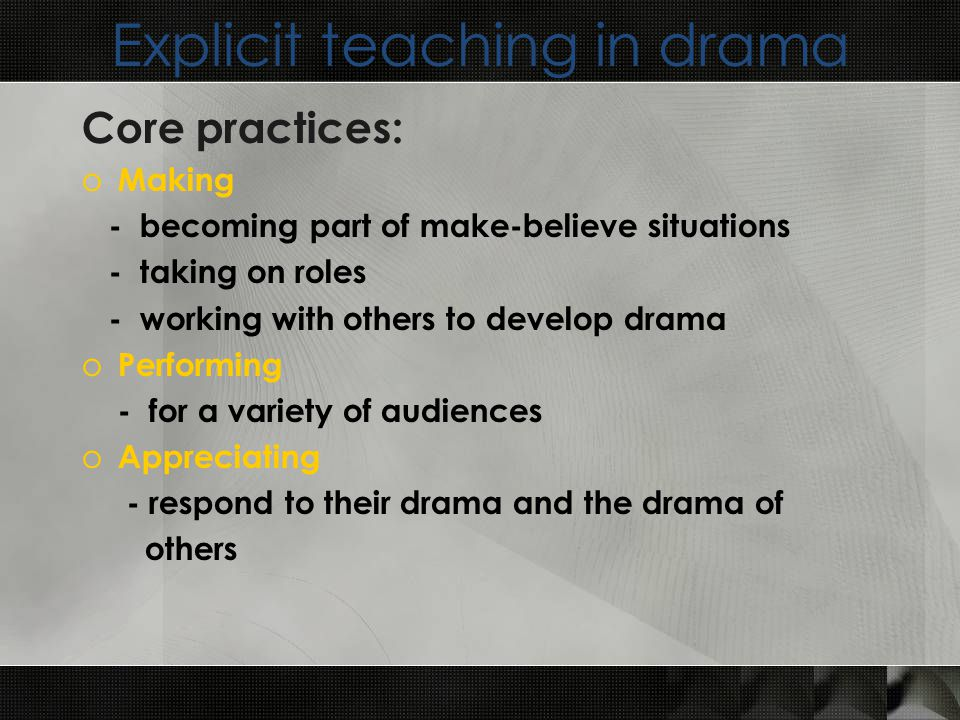 Explicit teaching in drama Core practices: o Making - becoming part of make-believe situations - taking on roles - working with others to develop drama o Performing - for a variety of audiences o Appreciating - respond to their drama and the drama of others