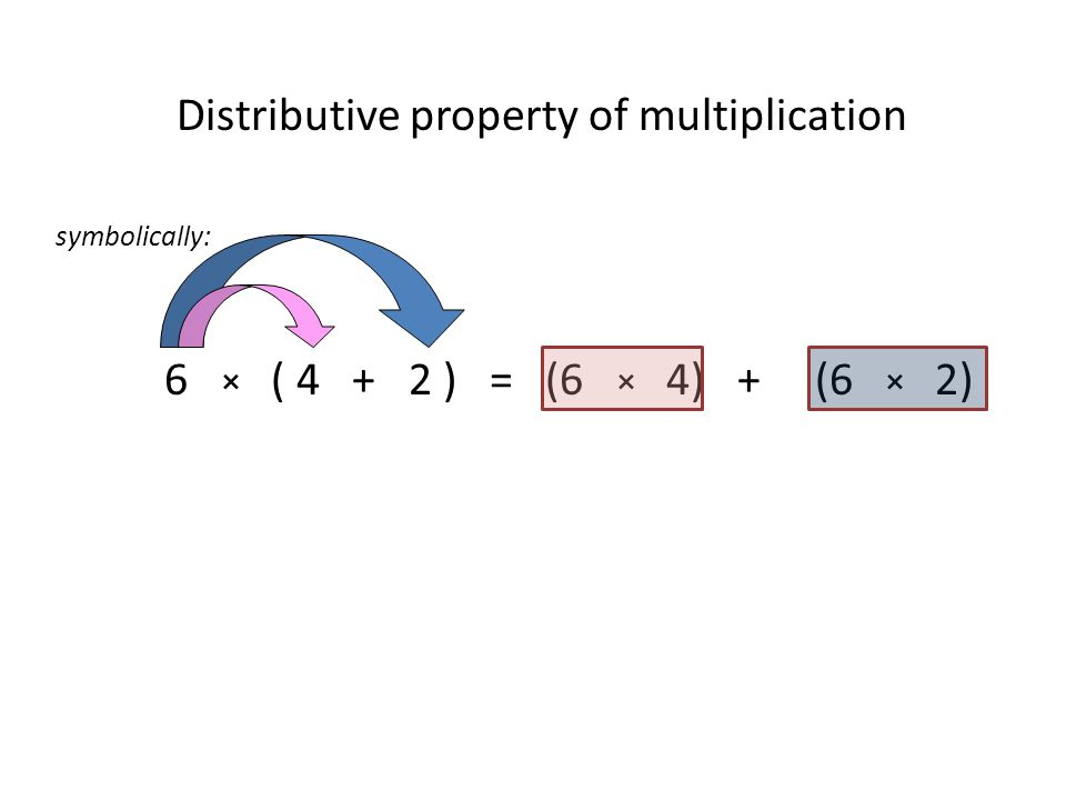 Distributive property of multiplication symbolically: 6 × ( ) = (6 × 4) + (6 × 2)