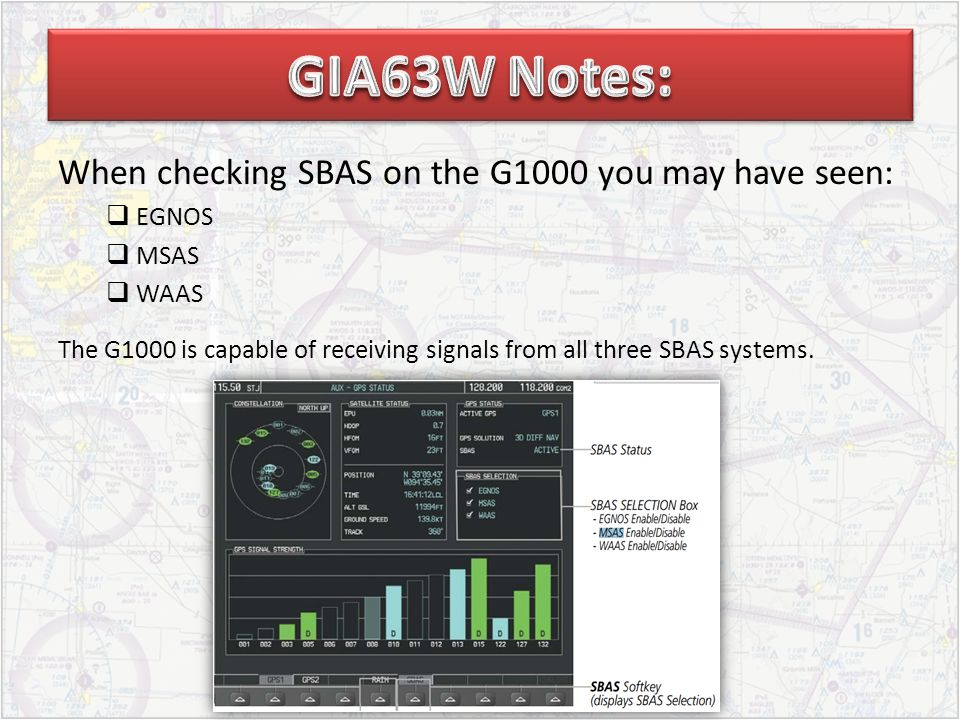 When checking SBAS on the G1000 you may have seen:  EGNOS  MSAS  WAAS The G1000 is capable of receiving signals from all three SBAS systems.