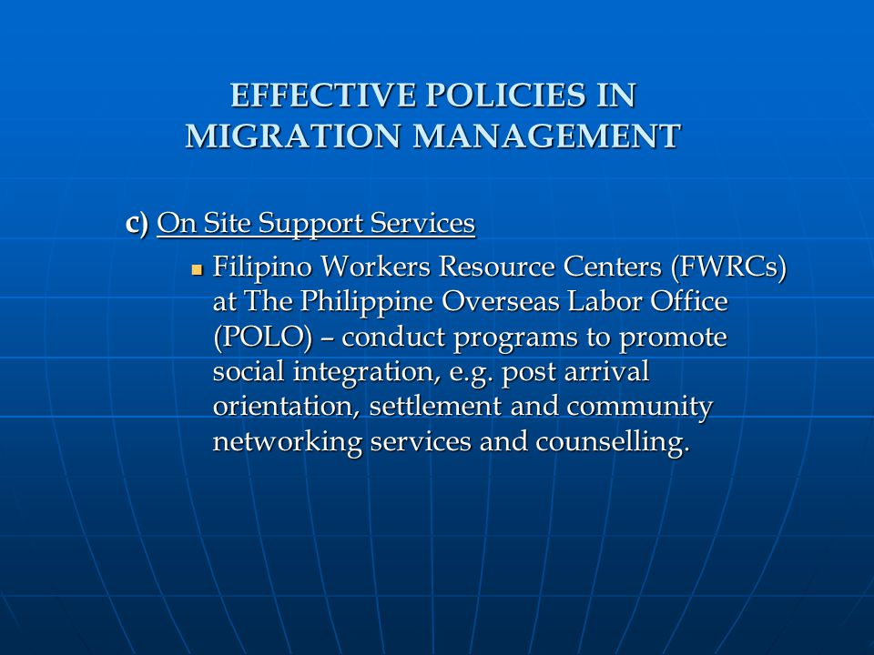 The PHILIPPINE APPROACH in Managing Temporary Migration