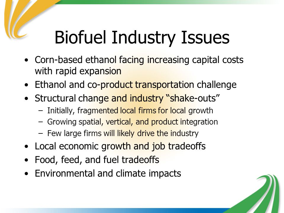 Biofuel Industry Issues Corn-based ethanol facing increasing capital costs with rapid expansion Ethanol and co-product transportation challenge Structural change and industry shake-outs –Initially, fragmented local firms for local growth –Growing spatial, vertical, and product integration –Few large firms will likely drive the industry Local economic growth and job tradeoffs Food, feed, and fuel tradeoffs Environmental and climate impacts
