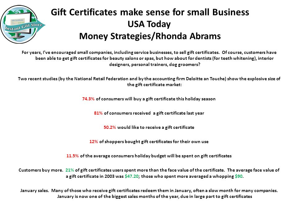 Instant Gift Store, Inc. We specialize in Online Gift Certificate ...