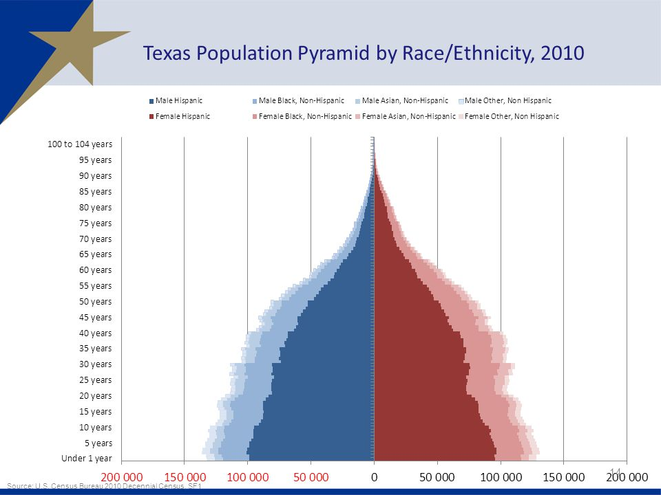 14 Texas Population Pyramid by Race/Ethnicity, 2010 Source: U.S.