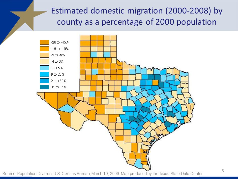 Estimated domestic migration ( ) by county as a percentage of 2000 population Source: Population Division, U.S.