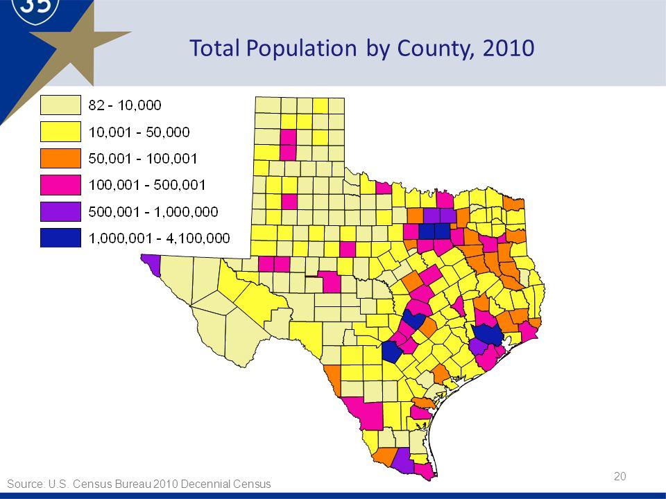 Total Population by County, Source: U.S. Census Bureau 2010 Decennial Census