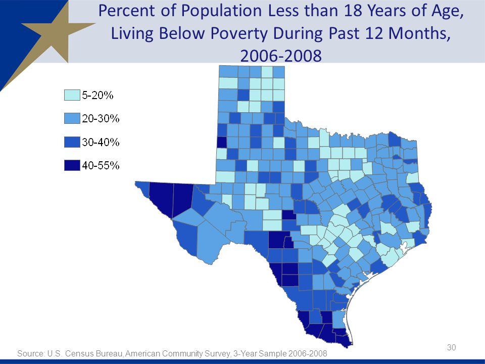 Percent of Population Less than 18 Years of Age, Living Below Poverty During Past 12 Months, Source: U.S.