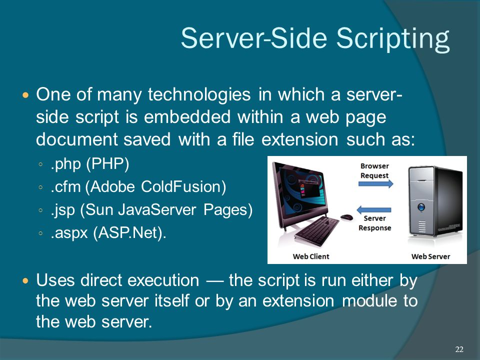 Server-Side Scripting One of many technologies in which a server- side script is embedded within a web page document saved with a file extension such as: ◦.php (PHP) ◦.cfm (Adobe ColdFusion) ◦.jsp (Sun JavaServer Pages) ◦.aspx (ASP.Net).