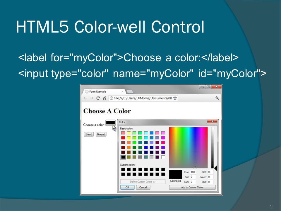HTML5 Color-well Control Choose a color: 31