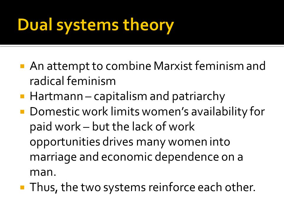  An attempt to combine Marxist feminism and radical feminism  Hartmann – capitalism and patriarchy  Domestic work limits women's availability for paid work – but the lack of work opportunities drives many women into marriage and economic dependence on a man.