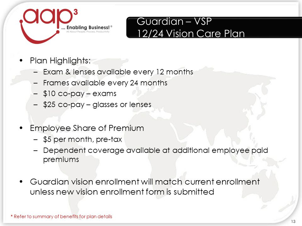 Guardian – VSP 12/24 Vision Care Plan Plan Highlights: –Exam & lenses available every 12 months –Frames available every 24 months –$10 co-pay – exams –$25 co-pay – glasses or lenses Employee Share of Premium –$5 per month, pre-tax –Dependent coverage available at additional employee paid premiums Guardian vision enrollment will match current enrollment unless new vision enrollment form is submitted * Refer to summary of benefits for plan details 13