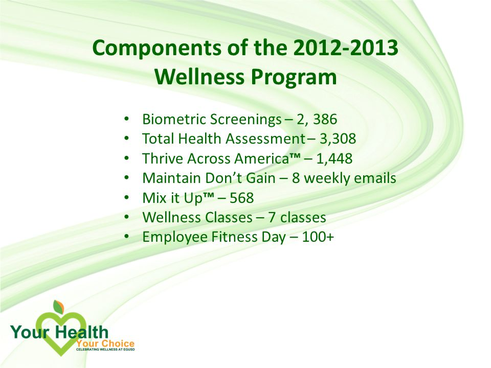 Components of the Wellness Program Biometric Screenings – 2, 386 Total Health Assessment – 3,308 Thrive Across America™ – 1,448 Maintain Don't Gain – 8 weekly  s Mix it Up™ – 568 Wellness Classes – 7 classes Employee Fitness Day – 100+