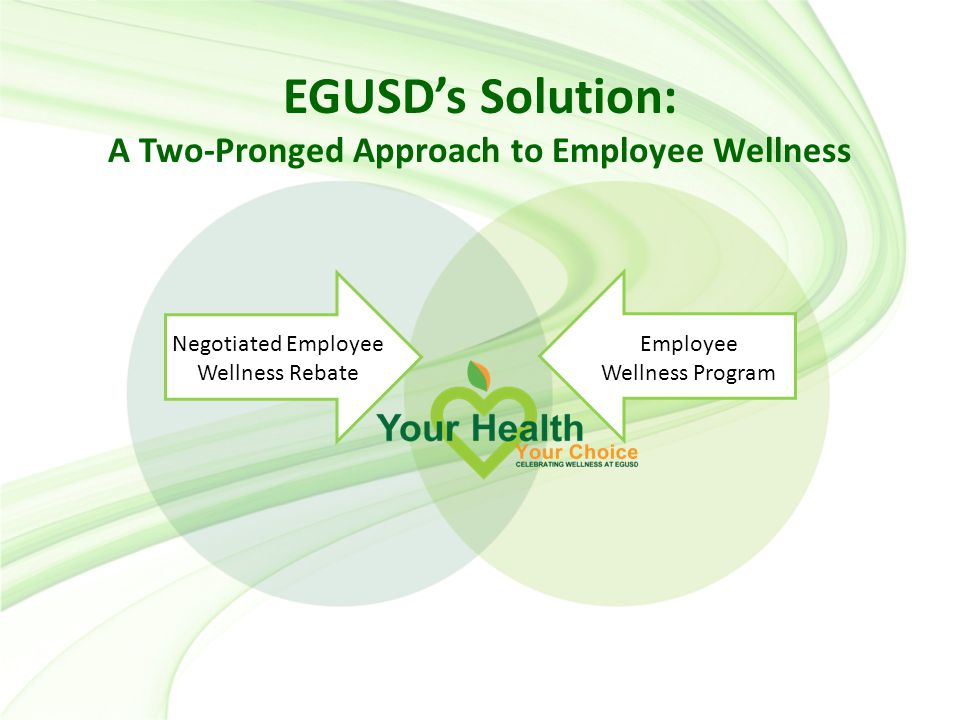 EGUSD's Solution: A Two-Pronged Approach to Employee Wellness Employee Wellness Program Negotiated Employee Wellness Rebate