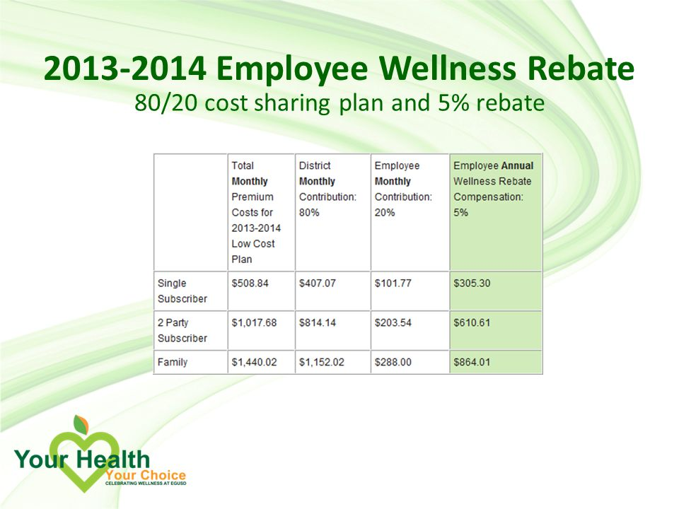 Employee Wellness Rebate 80/20 cost sharing plan and 5% rebate