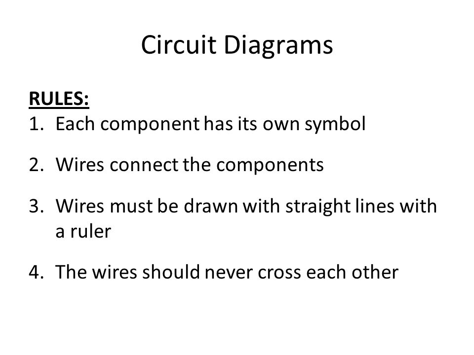 Circuit Diagrams RULES: 1.Each component has its own symbol 2.Wires connect the components 3.Wires must be drawn with straight lines with a ruler 4.The wires should never cross each other