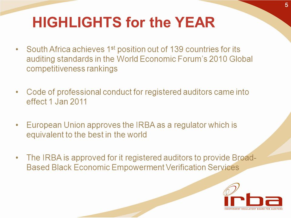 5 HIGHLIGHTS for the YEAR South Africa achieves 1 st position out of 139 countries for its auditing standards in the World Economic Forum's 2010 Global competitiveness rankings Code of professional conduct for registered auditors came into effect 1 Jan 2011 European Union approves the IRBA as a regulator which is equivalent to the best in the world The IRBA is approved for it registered auditors to provide Broad- Based Black Economic Empowerment Verification Services